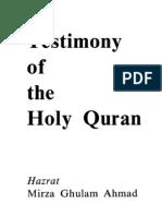 Testimony of the Holy Quran Quran)