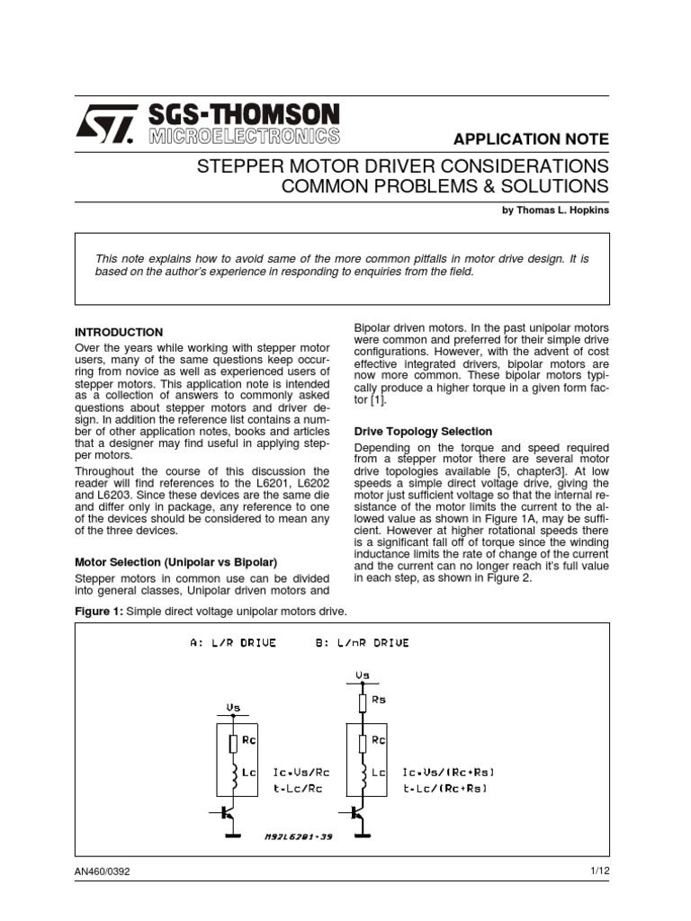 Stepper Motor Drive Considerations Common Problems Solutions Also Schematic On L297 Driver Unipolar Electronic Circuits Inductor