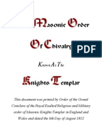 The Masonic Order Known as the Knights Templar 1812