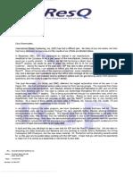 ResQ Shareholder Letter  March 31 2003