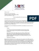 Letter From MAPE Executive Director Jim Monroe to Representative Tom Hackbarth