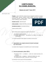 Mignovillard - Compte rendu du Conseil municipal du 7 mars 2011