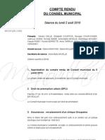 Mignovillard - Compte rendu du Conseil municipal du 2 août 2010