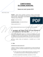 Mignovillard - Compte rendu du Conseil municipal du 4 janvier 2010