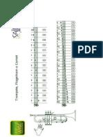 Tabela de Digitação Básica do Trompete - Weril