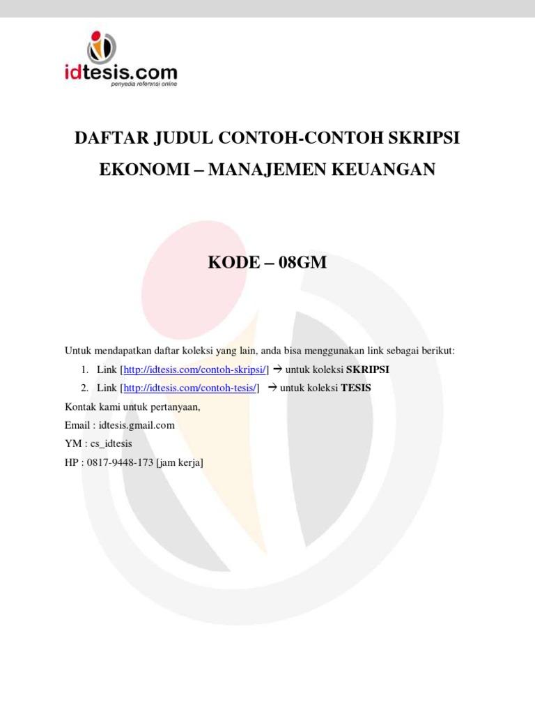 Daftar Judul Contoh Contoh Skripsi Ekonomi Manajemen Keuangan 08gm