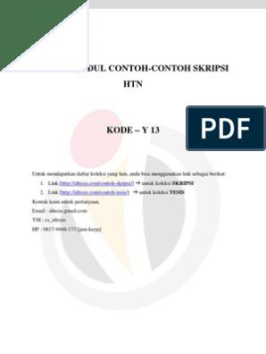Daftar Judul Contoh Contoh Skripsi Hukum Tata Negara Kode Y 13