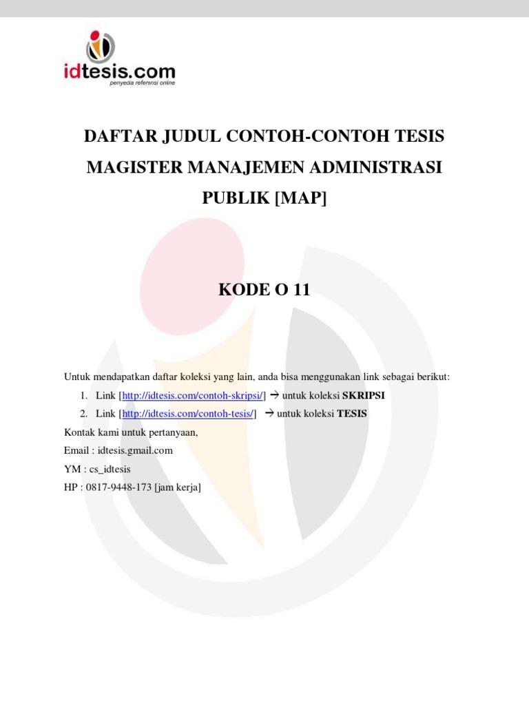 Daftar Judul Contoh Contoh Tesis Magister Administrasi Pembangunan Map Kode O 11