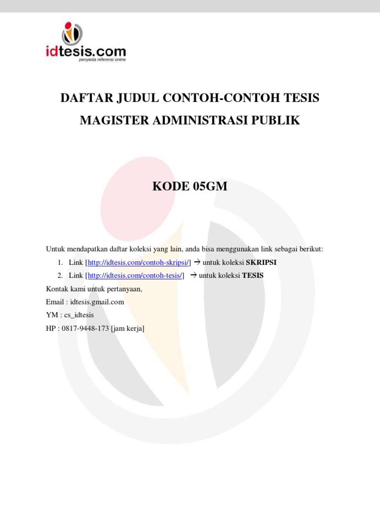 Daftar Judul Contoh Contoh Tesis Magister Administrasi Publik Map 05gm