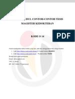 DAFTAR JUDUL CONTOH-CONTOH TESIS MAGISTER KEDOKTERAN – KODE O 14