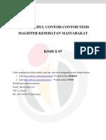 Daftar Judul Contoh-contoh Tesis Magister Kesehatan Masyarakat Kode e 07