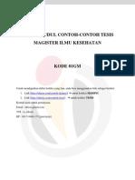 DAFTAR JUDUL CONTOH-CONTOH TESIS MAGISTER ILMU KESEHATAN – 01GM