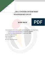 DAFTAR JUDUL CONTOH-CONTOH TESIS MAGISTER KEUANGAN – 08GM