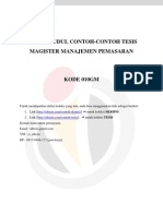 DAFTAR JUDUL CONTOH-CONTOH TESIS MAGISTER MANAJEMEN PEMASARAN – 010GM