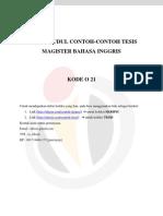 DAFTAR JUDUL CONTOH-CONTOH TESIS MAGISTER BAHASA INGGRIS – KODE O 21