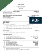Sample Resume 1 Kogod Center for Career Development