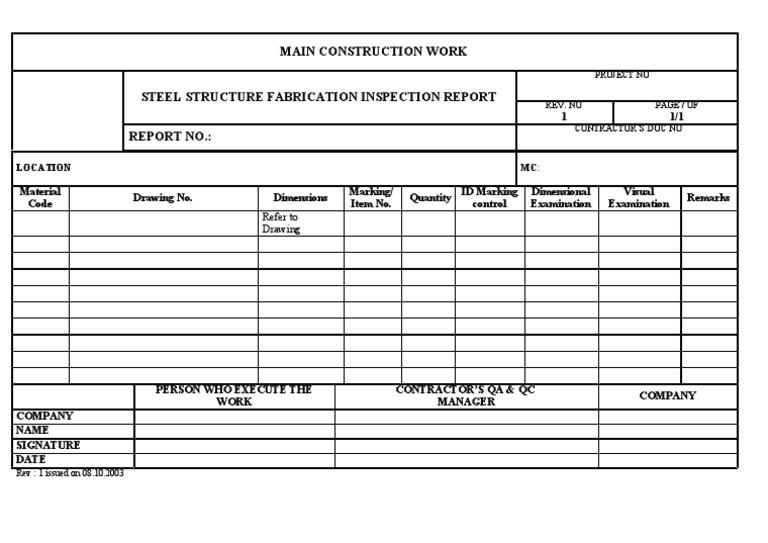 steel structure fabrication inspection report. Black Bedroom Furniture Sets. Home Design Ideas