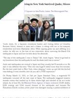 Fukushima Native Living in New York Survived Quake, Misses Family, Gives Back