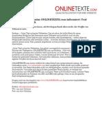 www.onlinetexte.com - Pressemeldung 2011-23 - Beckumer Textagentur ONLINETEXTE.com informiert