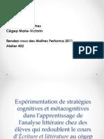 402 - Stratégies cognitives et métacognitives dans l'apprentissage de l'analyse littéraire