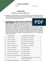 DM Mch Admission Notice-2011 Gujrat