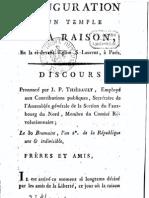 20à la Raison en la cidevant église St Laurent à Paris - Discours prononcé par JP Thiebault le 30 brumaire l an 2e