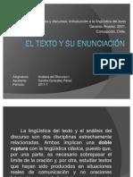 EL TEXTO Y SU ENUNCIACIÓN