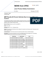 BRP Recalls All Terrain Vehicles Due to Loss of Steering Control
