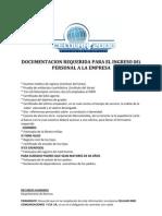 Documentacion Requerida Para El Ingreso Del Personal a La Impresa