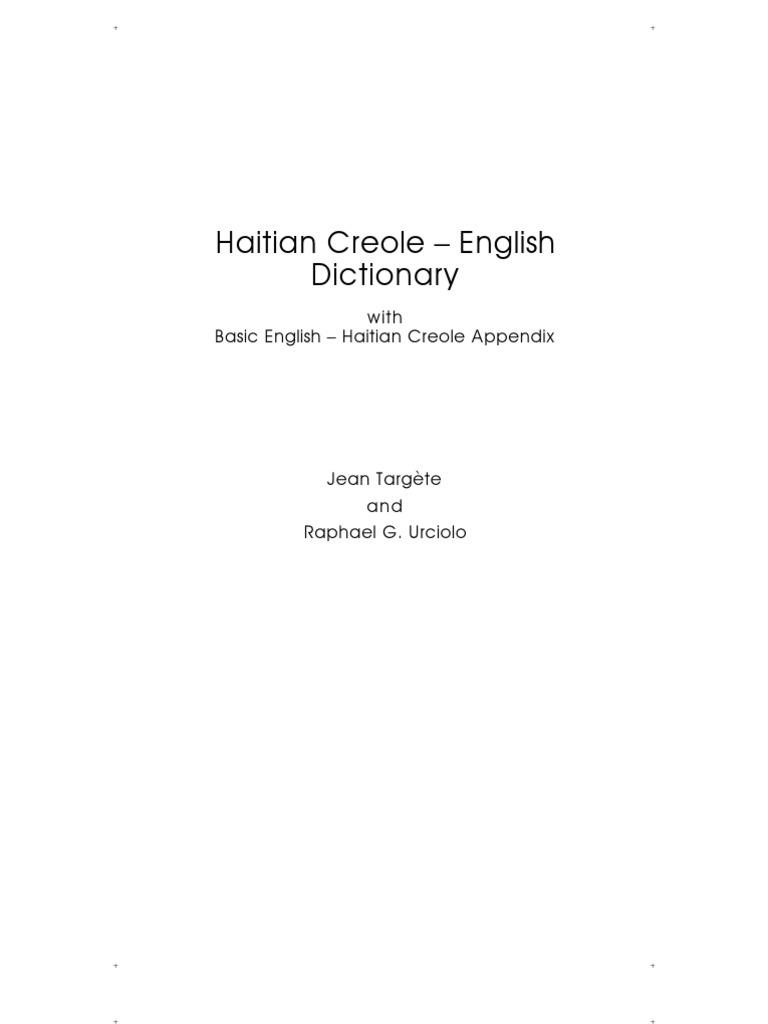 Hatian Creole English Dictionary 2nd Printing Adjective Pronoun