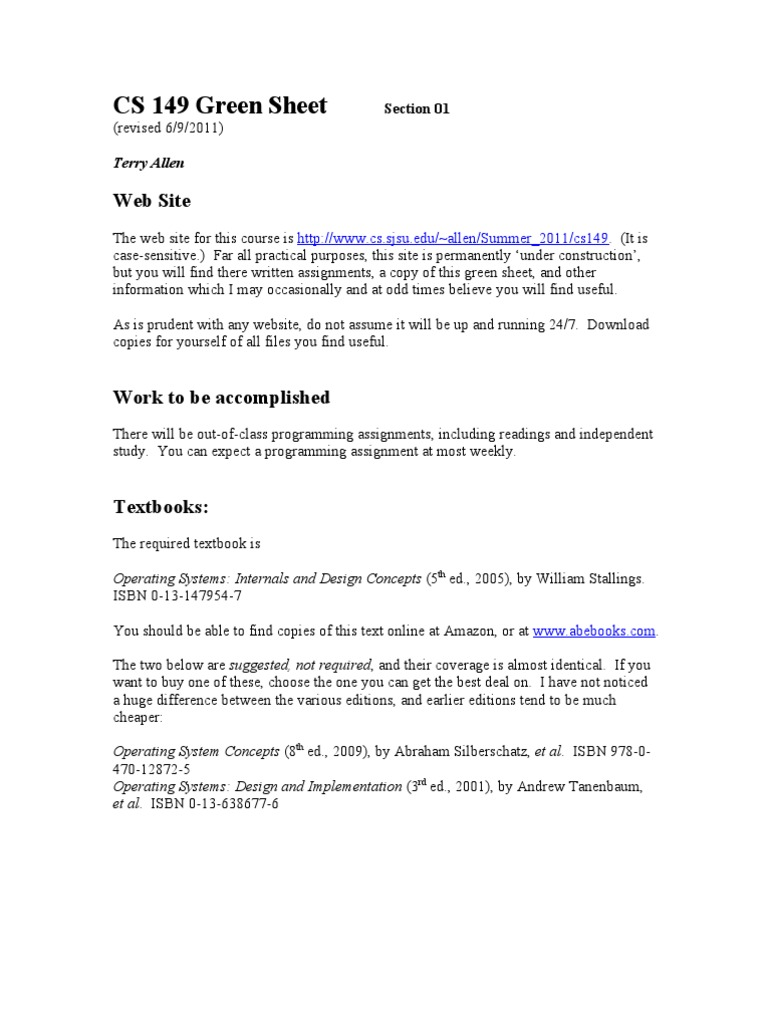 Cs 149 01 green sheet trade off operating system fandeluxe Images