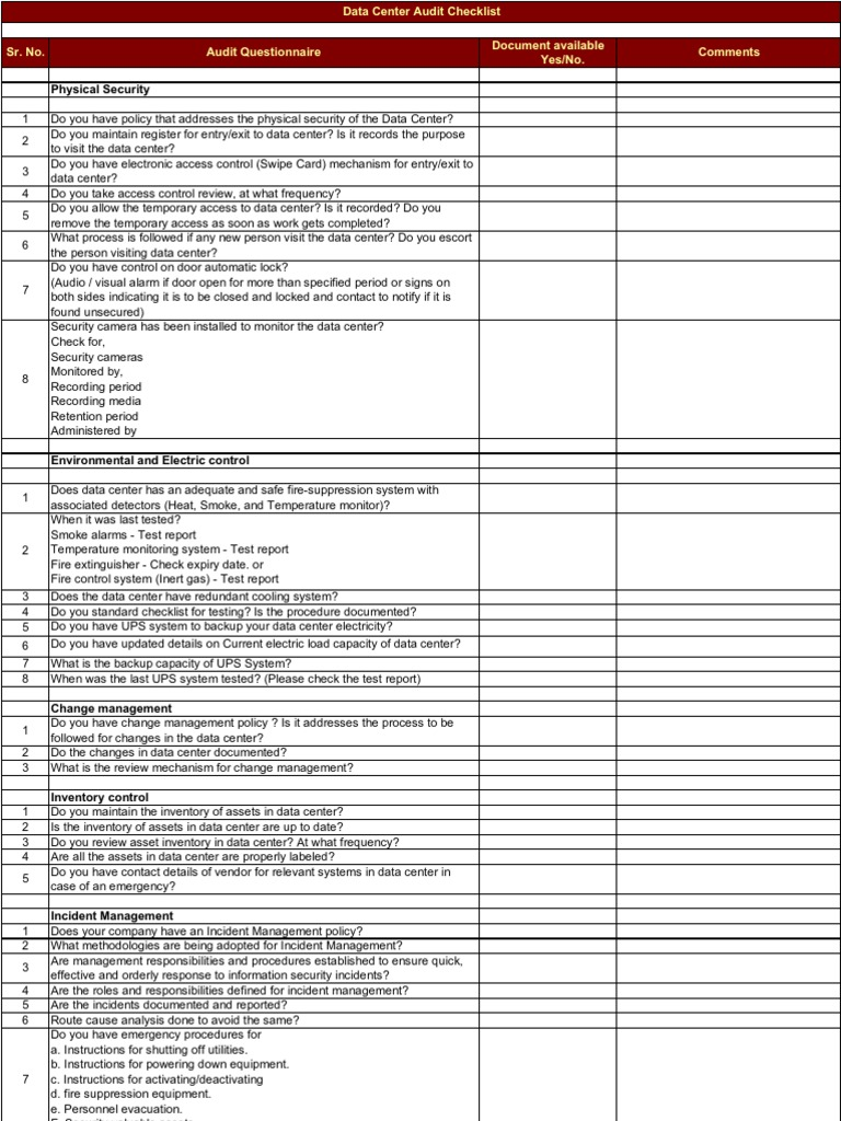 Data center audit checklist for Physical access control policy template