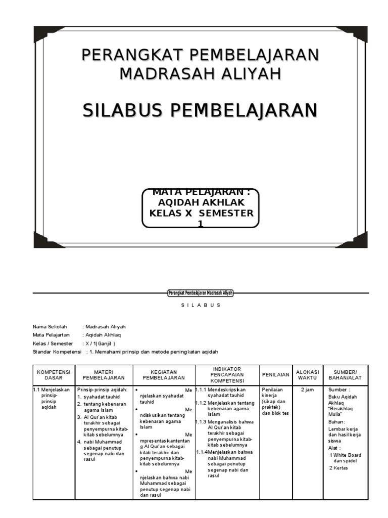 Silabus Aqidah Akhlak Ma Kelas X 1 2