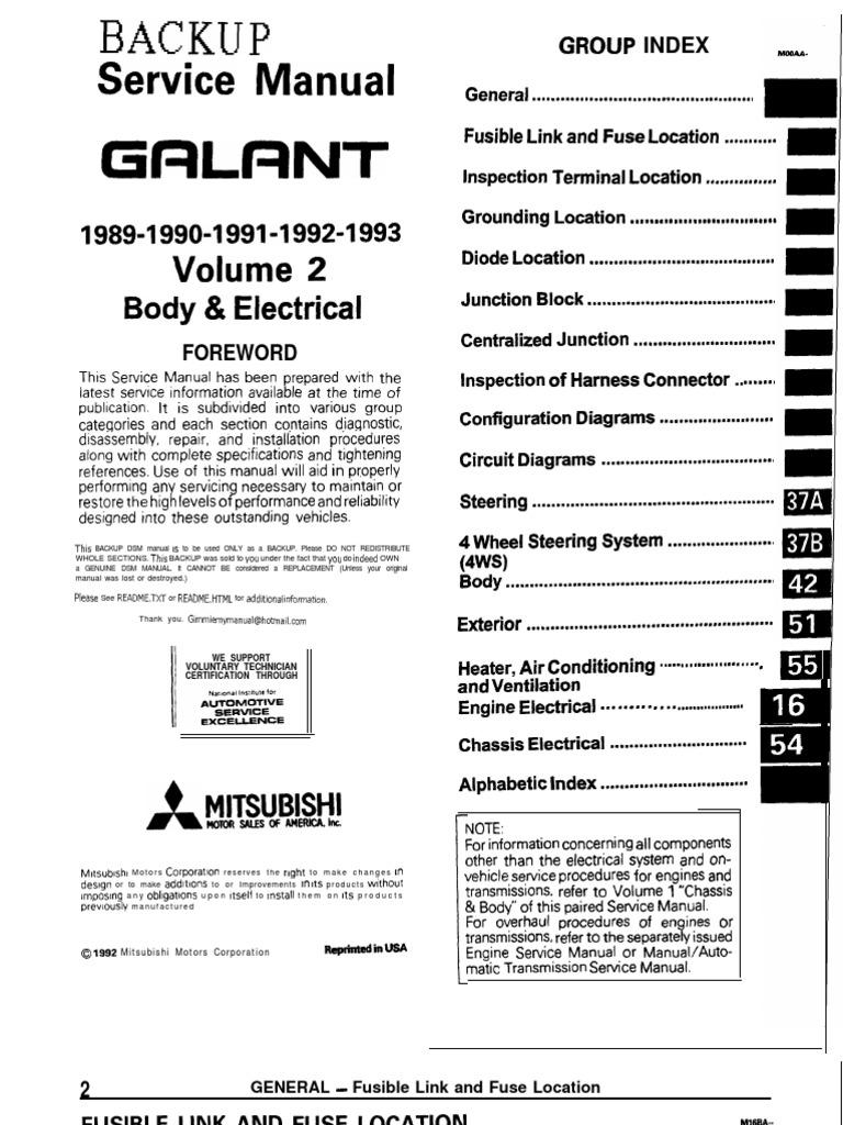 galant 89 93 service manual body electric troubleshooting fuse rh scribd com