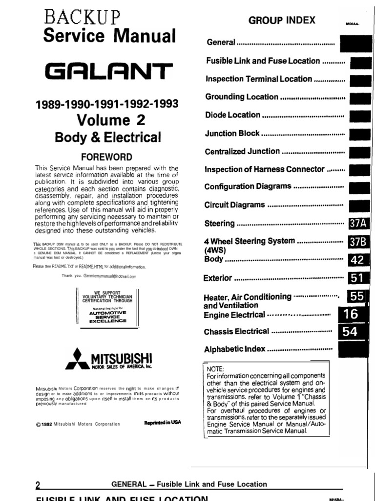Galant 89 93 Service Manual Body Electric Troubleshooting Fuse Wiring Harness On 84 Cj7 4 2l Electrical
