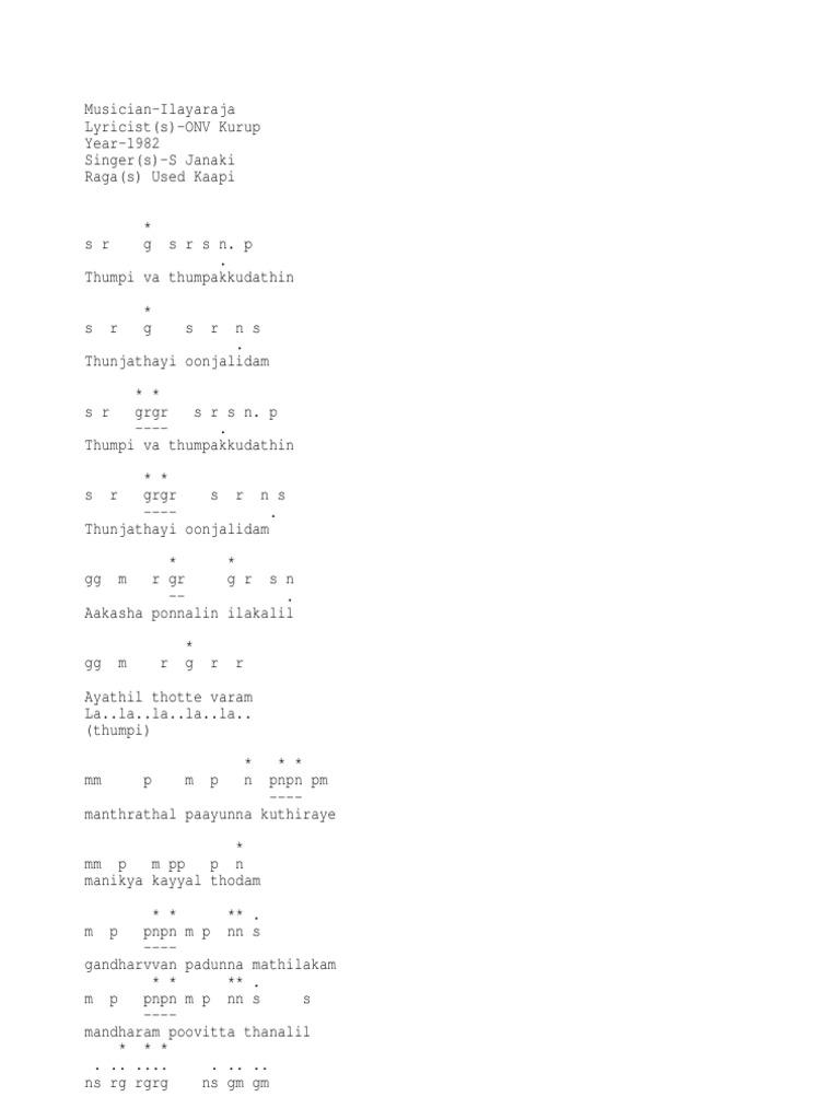 Thumbi Vaa-music Notes