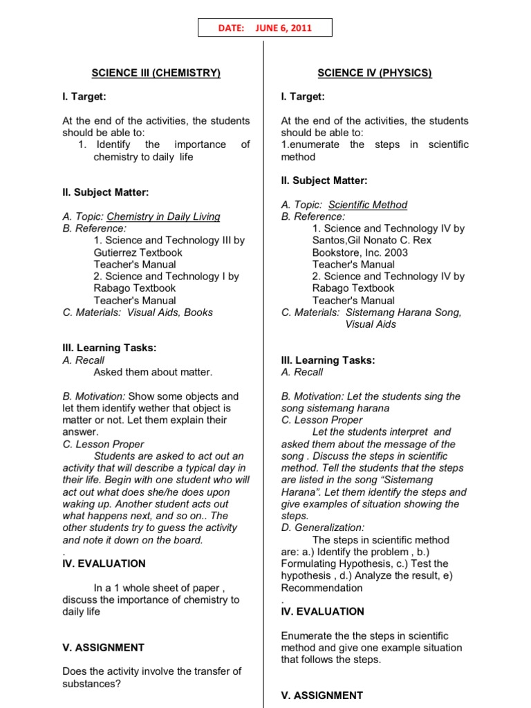 semi detailed lesson plan in science grade 6