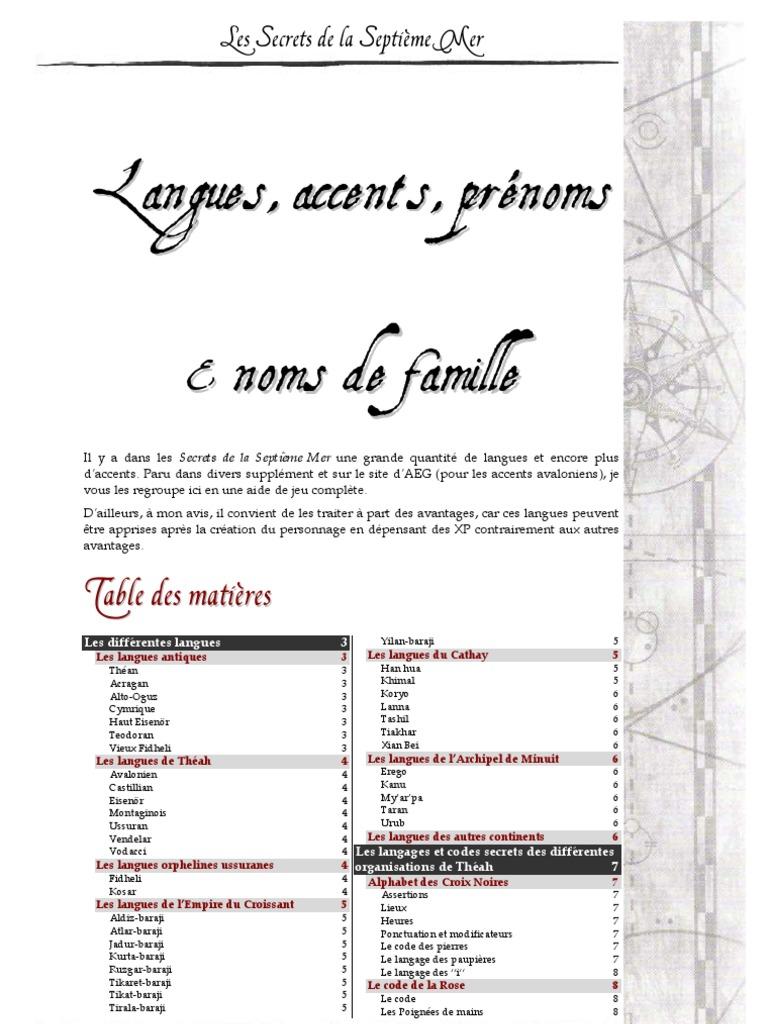 Langues Accents Noms & Prenoms (7th Sea)   Dé   la