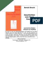 Brecht - Geschichten Vom Herrn Keuner 3518365169