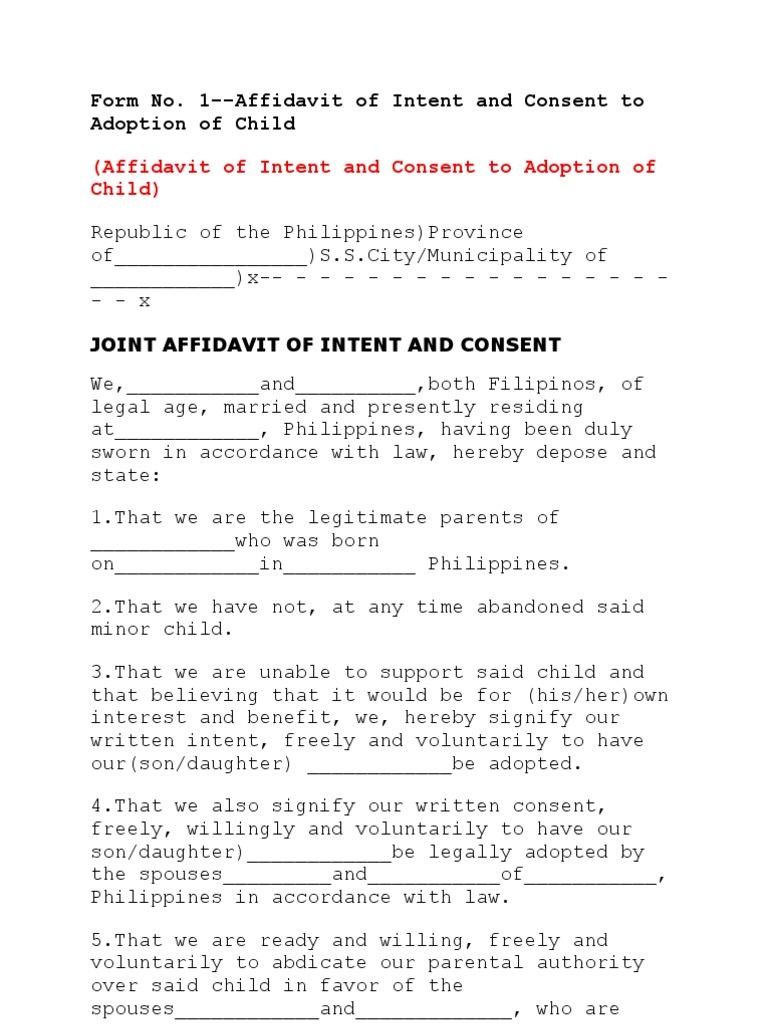 Affidavit of intent and consent to adoption of child spiritdancerdesigns Images