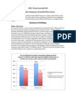 2011 Texas Lyceum Executive Summary on Social Policy Issues