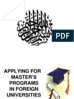 Applying - Ms Progs in Foreign Unis & Scholarships