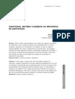 SUBSTÂNCIA, MATÉRIA E ESSÊNCIA NA METAFÍSICA DE ARISTÓTELES