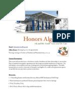 Honors Algebra I Syllabus