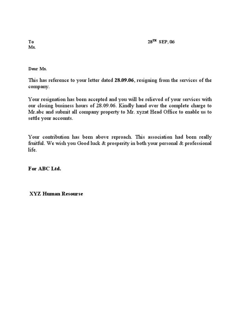 Resignation cum relieving letter mitanshu Gallery