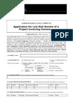 Low Risk Application Form 2011