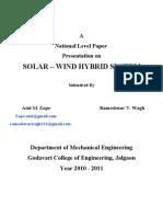 Solar-Wind Hybrid System Presents