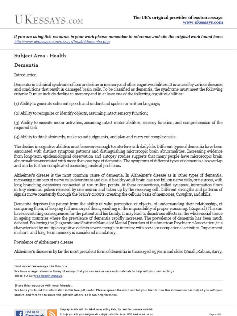 health essays  dementia  alzheimers disease  dementia