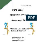 TRM 409.01 MEHMET USTA AND ALTIN TABAK RESTAURANT CASE