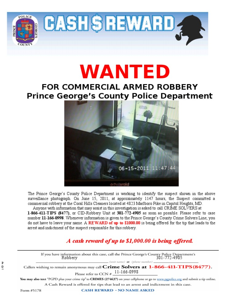 Wanted: For Commercial Armed Robbery Prince George's County